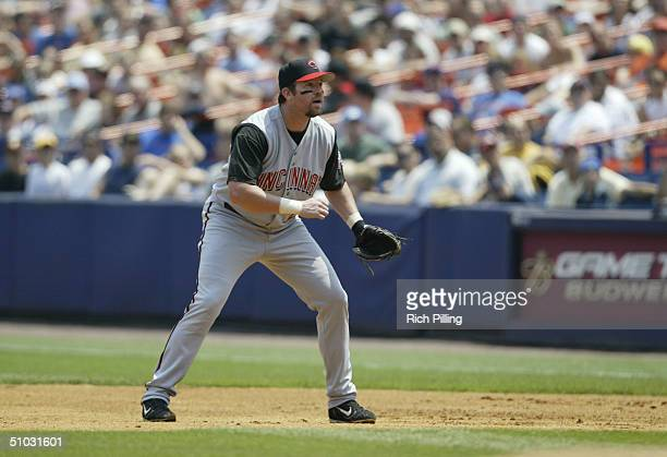 Sean Casey of the Cincinnati Reds gets ready at first base during the game against the New York Mets at Shea Stadium on June 24 2004 in Flushing New...