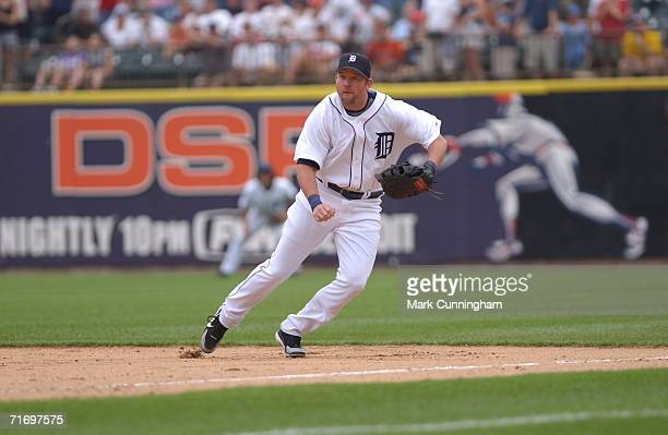 Sean Casey of the Detroit Tigers fielding during the game against the Cleveland Indians at Comerica Park in Detroit Michigan on August 6 2006 The...