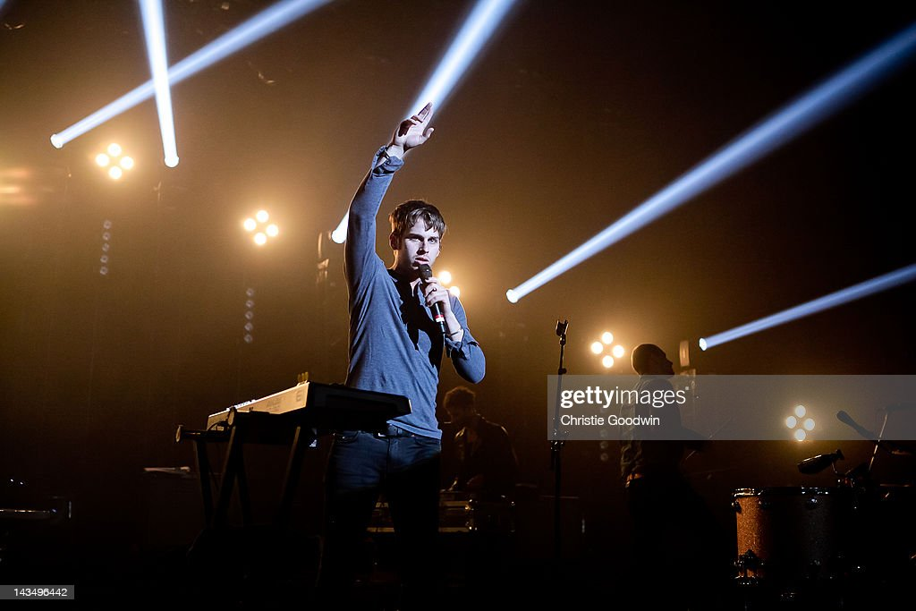 Sean Cimino of Foster The People performs on stage at Brixton Academy on April 27 2012 in London United Kingdom