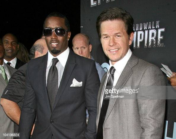 Sean Combs and actor Mark Wahlberg attend the premiere of 'Boardwalk Empire' at the Ziegfeld Theatre on September 15 2010 in New York City
