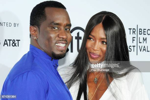 Sean Combs and Naomi Campbell attend 'Can't Stop Won't Stop The Bad Boy Story' Premiere 2017 Tribeca Film Festival at The Beacon Theatre on April 27...