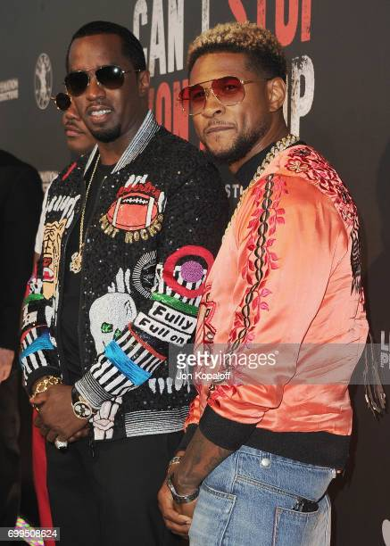 Sean Combs and Usher arrive at the Los Angeles Premiere Of 'Can't Stop Won't Stop' at Writers Guild of America West on June 21 2017 in Los Angeles...