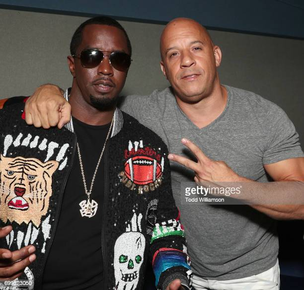 Sean Combs and Vin Diesel attend the Los Angeles Premiere of 'Can't Stop Won't Stop' at the Writers Guild of America West on June 21 2017 in Los...