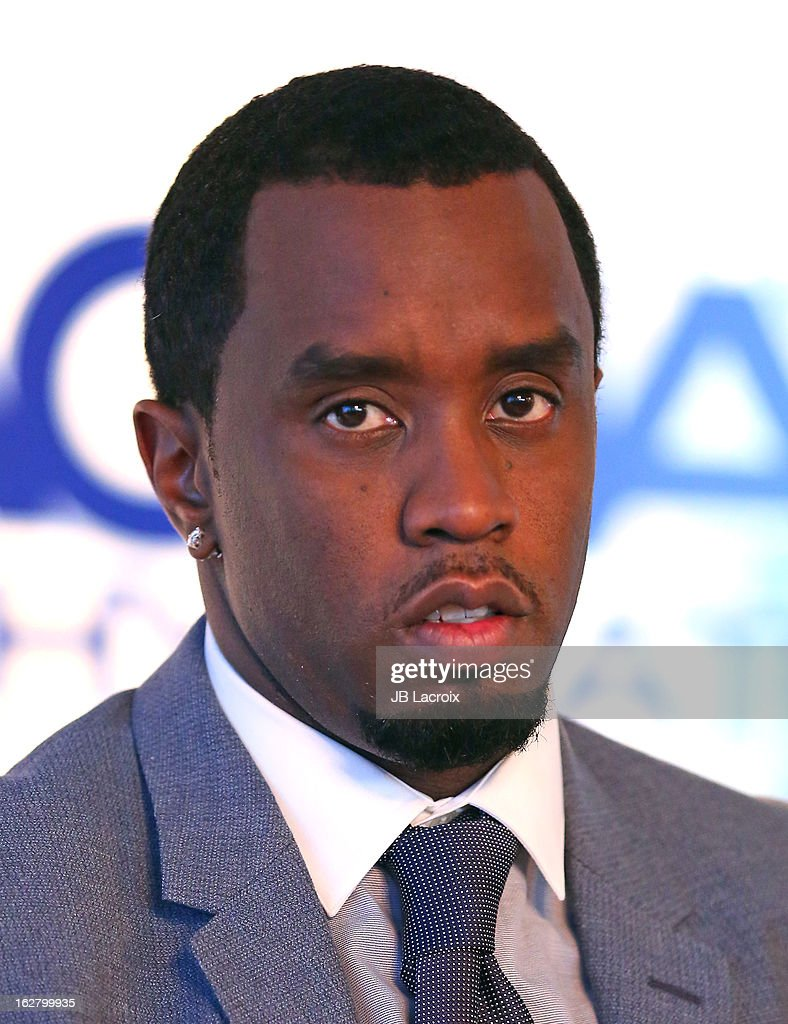 Sean Combs speak onstage while hosting a press conference to announce their newest venture, Water Brand AQUAhydrate on February 27, 2013 in Los Angeles, California.