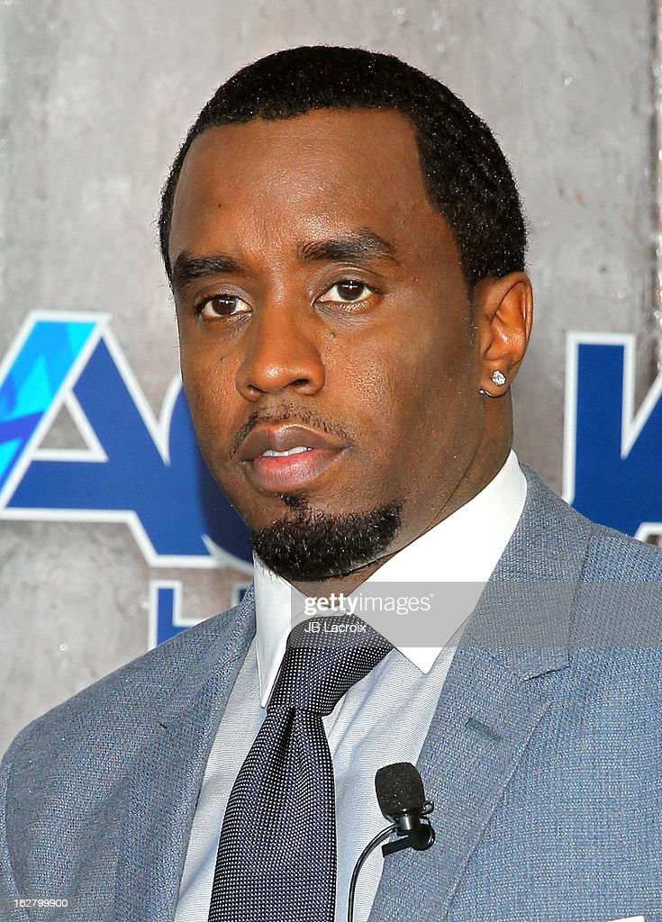 <a gi-track='captionPersonalityLinkClicked' href=/galleries/search?phrase=Sean+Combs&family=editorial&specificpeople=178993 ng-click='$event.stopPropagation()'>Sean Combs</a> speaks onstage while hosting a press conference to announce their newest venture, Water Brand AQUAhydrate on February 27, 2013 in Los Angeles, California.