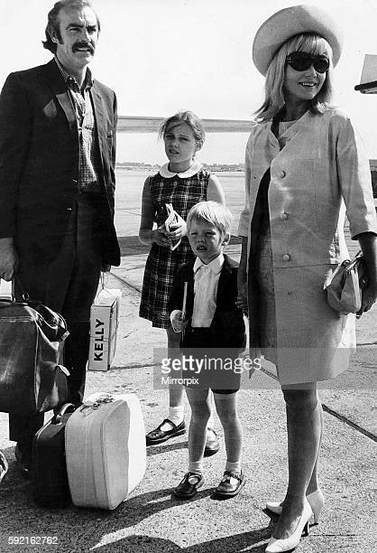 Sean Connery actor with his wife Diane Cilento pictured with their children Gigi and Jason leaving Heathrow Airport for Nice
