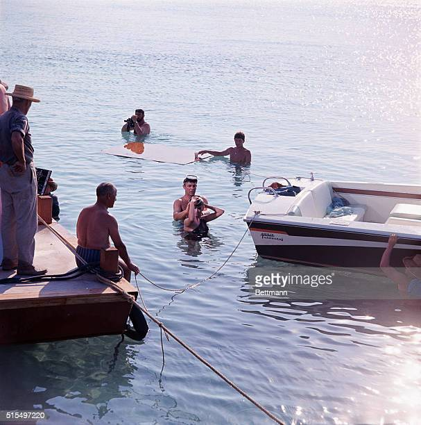 Sean Connery and Claudine Auger in water scene April 16th during filming of latest James Bond film Thunderball