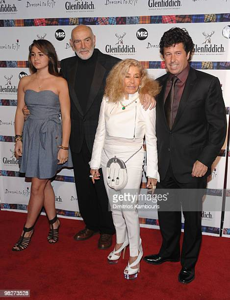 Sean Connery and Micheline Connery pose with guests at the 8th annual 'Dressed To Kilt' Charity Fashion Show at M2 Ultra Lounge on April 5 2010 in...