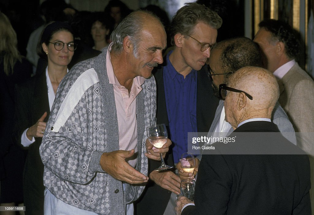 <a gi-track='captionPersonalityLinkClicked' href=/galleries/search?phrase=Sean+Connery&family=editorial&specificpeople=201589 ng-click='$event.stopPropagation()'>Sean Connery</a> and Swifty Lazar during Norris Church Art Exhibition - March 22, 1989 at Madison Galleries in Hollywood, California, United States.