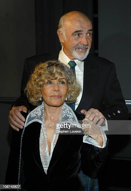 Sean Connery and wife during Sean Connery Hosts 'Dressed To Kilt' to Benefit the Friends of Scotland Arrivals and Show at Sotheby's in New York City...