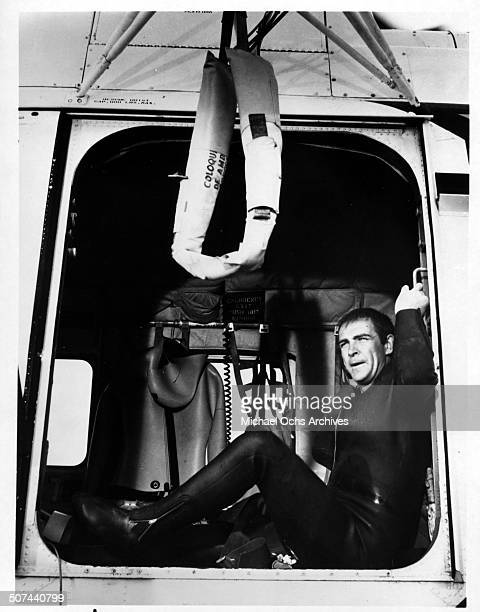 Sean Connery as James Bond is air lifted in a scene from the movie 'Thunderball' circa 1965