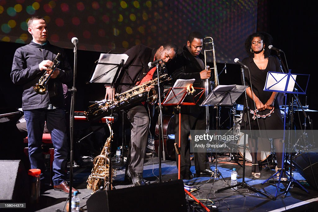 Sean Corby, Jason Yarde, Harry Brown and Velerie Etienne perform for the Jazz in the Round 2012 Christmas Special at The Cockpit Theatre on December 9, 2012 in London, England.