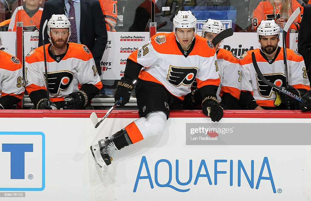 Sean Couturier #14, Brayden Schenn #10, Chris VandeVelde #76 and Boyd Gordon #27 of the Philadelphia Flyers react to the play on the ice against the Tampa Bay Lightning on January 7, 2017 at the Wells Fargo Center in Philadelphia, Pennsylvania.