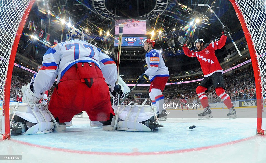 Sean Couturier #7 (R) of Canada celebrates as teammate Tyler Ennis (not seen) of Canada scores their team's second goal during the 2015 IIHF Ice Hockey World Championship gold medal Game between Canada and Russia at the O2 Arena on May 17, 2015 in Prague, Czech Republic.
