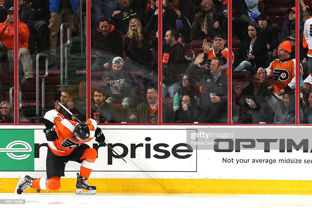 Sean Couturier of the Philadelphia Flyers celebrates a goal against the Calgary Flames at Wells Fargo Center on March 3 2015 in Philadelphia...