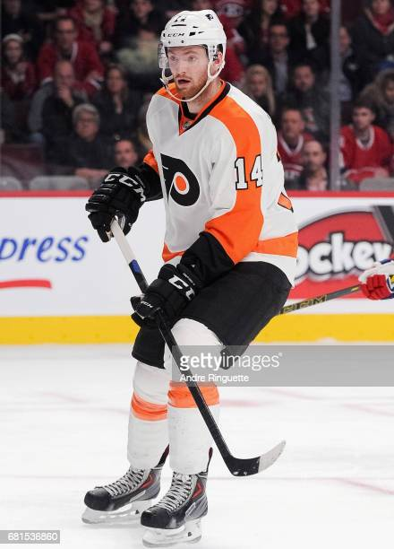 Sean Couturier of the Philadelphia Flyers plays in the game against the Montreal Canadiens at the Bell Centre on November 15 2014 in Montreal Quebec...