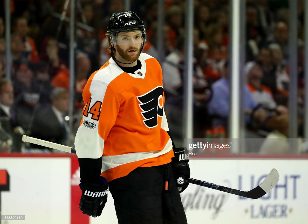 Sean Couturier #14 of the Philadelphia Flyers skates in the first period against the Arizona Coyotes on October 30, 2017 at Wells Fargo Center in Philadelphia, Pennsylvania.
