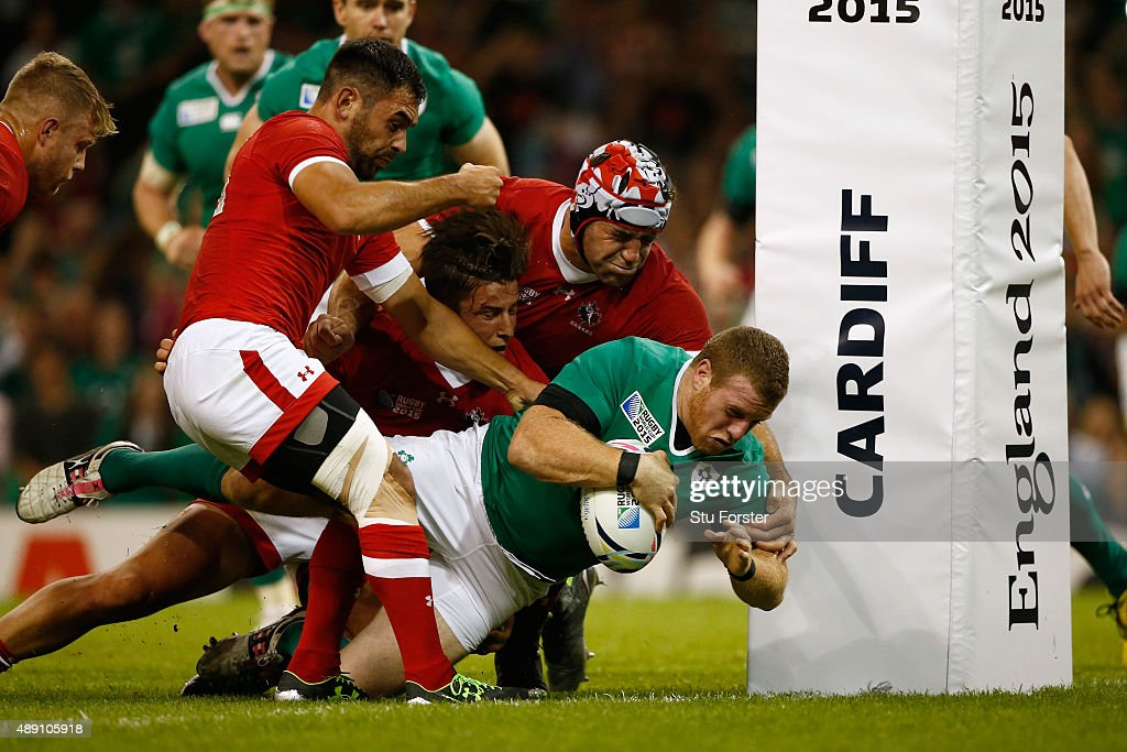 Sean Cronin of Ireland scores the fifth try of the game during the 2015 Rugby World Cup Pool D match between Ireland and Canada at the Millennium Stadium on September 19, 2015 in Cardiff, United Kingdom.