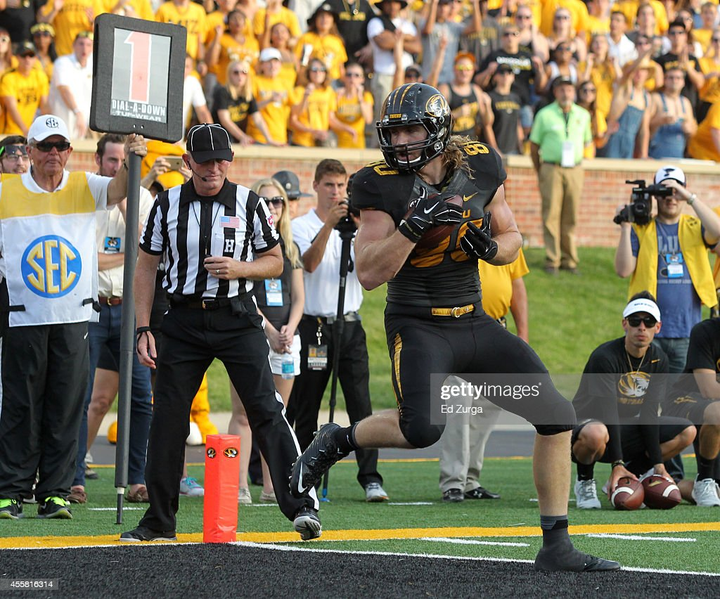Sean Culkin #80 of the Missouri Tigers steps into the end zone for a touchdown in the fourth quarter during a game against the Indiana Hoosiers at Memorial Stadium on September 20, 2014 in Columbia, Missouri. Indiana won 31-27.
