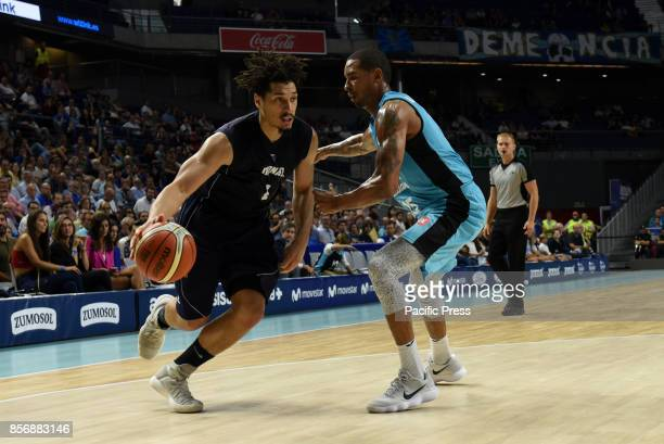 Sean Cunningham #1 of Donar Groningen in action during the second game of Qualification Round for the basketball Champions league between Estudiantes...