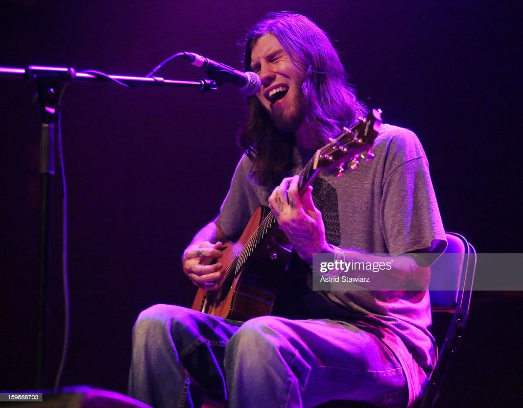 Sean Danielsen of Smile Empty Soul performs during the Rock For Recovery, A Benefit For Victims Of Hurricane Sandy at the Gramercy Theatre on January 17, 2013 in New York City.
