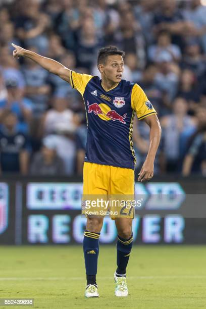 Sean Davis of New York Red Bulls directs a teammate in the US Open Cup Final match against Sporting Kansas City at Children's Mercy Park on September...
