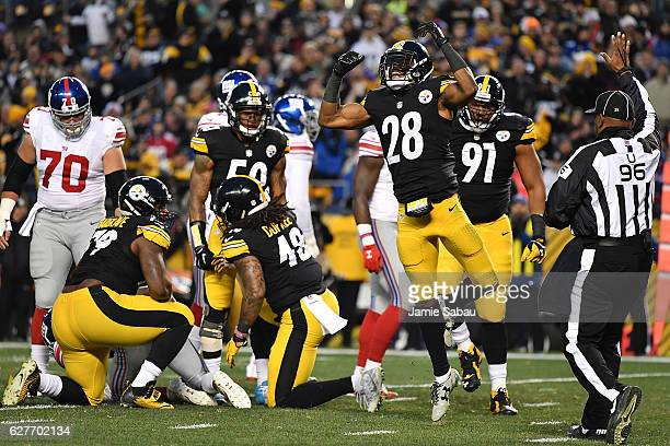 Sean Davis of the Pittsburgh Steelers reacts after a defensive stop in the second quarter during the game against the New York Giants at Heinz Field...