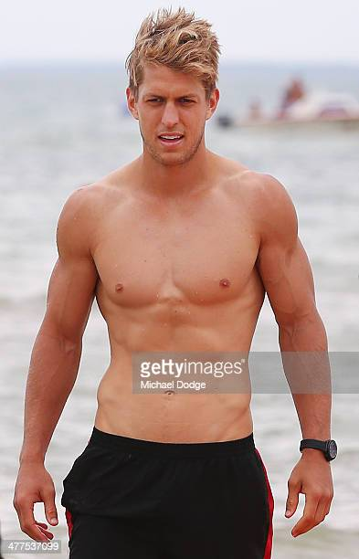 Sean Dempster looks on at the beach during a St Kilda Saints AFL Fan Day at Frankston Foreshore on March 10 2014 in Melbourne Australia