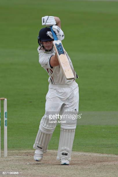 Sean Dickson of Kent bats during day two of the tour match between Kent and West Indies at The Spitfire Ground on August 7 2017 in Canterbury England