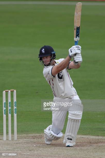 Sean Dickson of Kent hits a boundary during day two of the tour match between Kent and West Indies at The Spitfire Ground on August 7 2017 in...