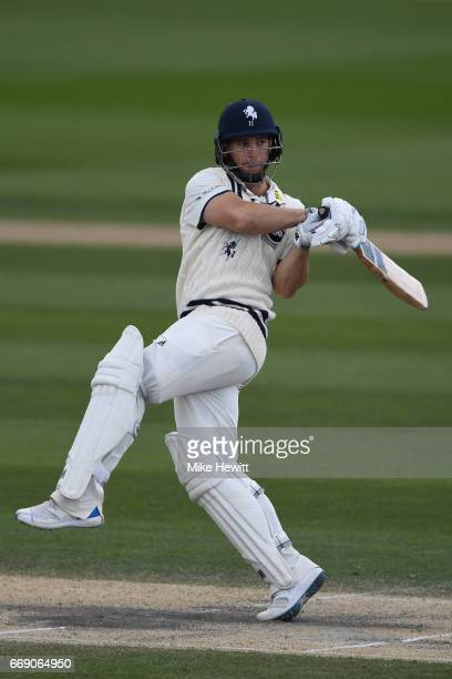 Sean Dickson of Kent hooks for four during day three of the Specsavers County Championship Division Two match between Sussex and Kent at The 1st...