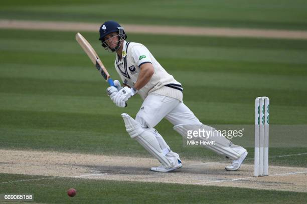 Sean Dickson of Kent in action during day three of the Specsavers County Championship Division Two match between Sussex and Kent at The 1st Central...