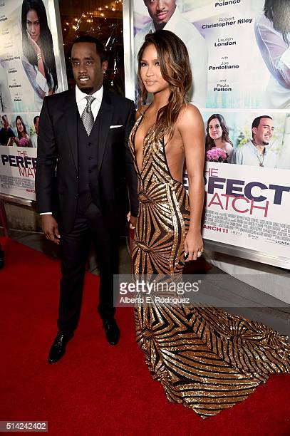 Sean 'Diddy' Combs and actress Cassie Ventura attend the premiere of Lionsgate's 'The Perfect Match' at ArcLight Hollywood on March 7 2016 in...