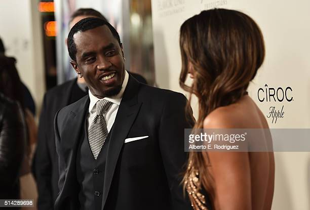 Sean 'Diddy' Combs and actress Cassie Venturaattends the premiere of Lionsgate's 'The Perfect Match' at ArcLight Hollywood on March 7 2016 in...