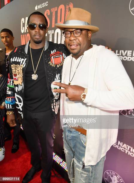 Sean 'Diddy' Combs and Bobby Brown attend the Los Angeles Premiere of Apple Music's CAN'T STOP WON'T STOP A BAD BOY STORY at The WGA Theater on June...