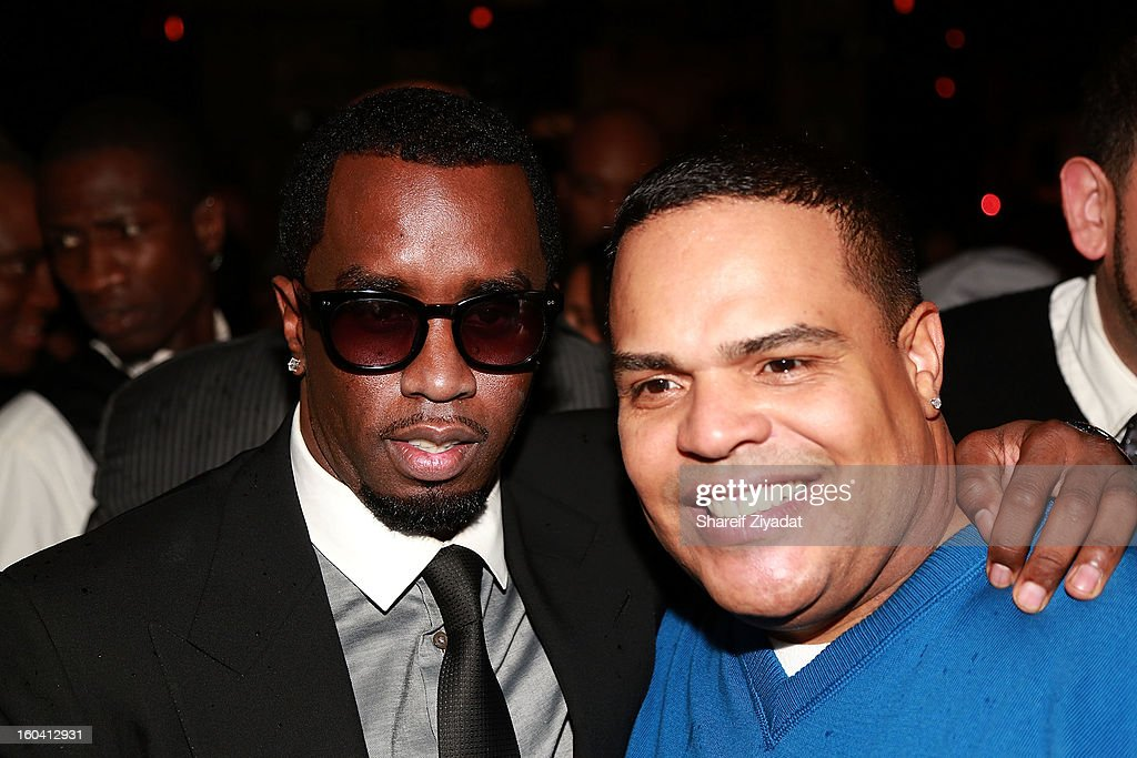 Sean 'Diddy' Combs and Dj Enuff attend the birthday celebration of DJ Enuff at The Griffin on January 30, 2013 in New York City.
