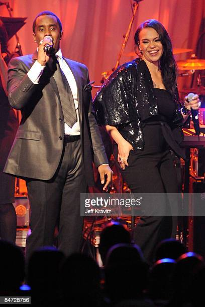 Sean 'Diddy' Combs and Faith Evans perform at the 2009 GRAMMY Salute to Icons honoring Clive Davis at the Beverly Hilton Hotel on February 7 2009 in...