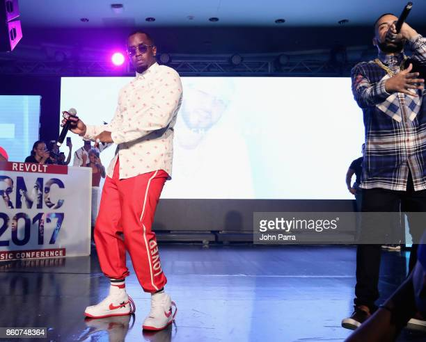 Sean 'Diddy' Combs and French Montana perform on stage at the 2017 REVOLT Music Conference Chairman's Welcome Ceremony at Eden Roc Hotel on October...
