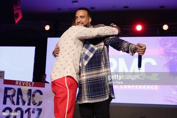 Sean 'Diddy' Combs and French Montana speak on stage at the 2017 REVOLT Music Conference Chairman's Welcome Ceremony at Eden Roc Hotel on October 12...