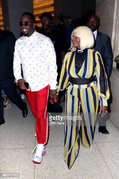 Sean 'Diddy' Combs and Janice Combs arrive at the 2017 REVOLT Music Conference Chairman's Welcome Ceremony at Eden Roc Hotel on October 12 2017 in...