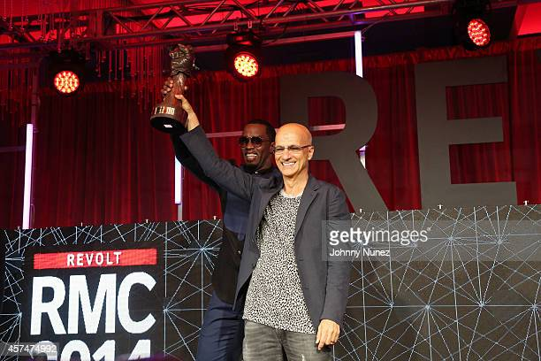 Sean 'Diddy' Combs and Jimmy Iovine attend the Revolt Music Conference at Fontainebleau Miami Beach on October 18 in Miami Beach Florida