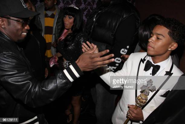 Sean 'Diddy' Combs and Justin Dior Combs attend Justin Dior Comb's 16th birthday party at M2 Ultra Lounge on January 23 2010 in New York City