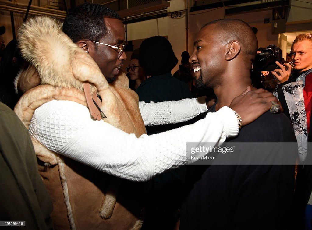 Sean 'Diddy' Combs (L) and Kanye West backstage at the adidas Originals x Kanye West YEEZY SEASON 1 fashion show during New York Fashion Week Fall 2015 at Skylight Clarkson Sq on February 12, 2015 in New York City.
