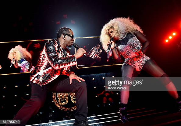 Sean 'Diddy' Combs and Lil' Kim perform onstage during the Bad Boy Family Reunion Tour at The Forum on October 4 2016 in Inglewood California