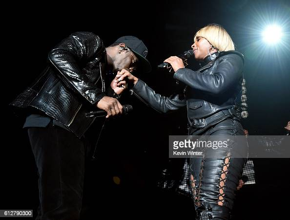 Sean 'Diddy' Combs and Mary J Blige perform onstage during the Bad Boy Family Reunion Tour at The Forum on October 4 2016 in Inglewood California