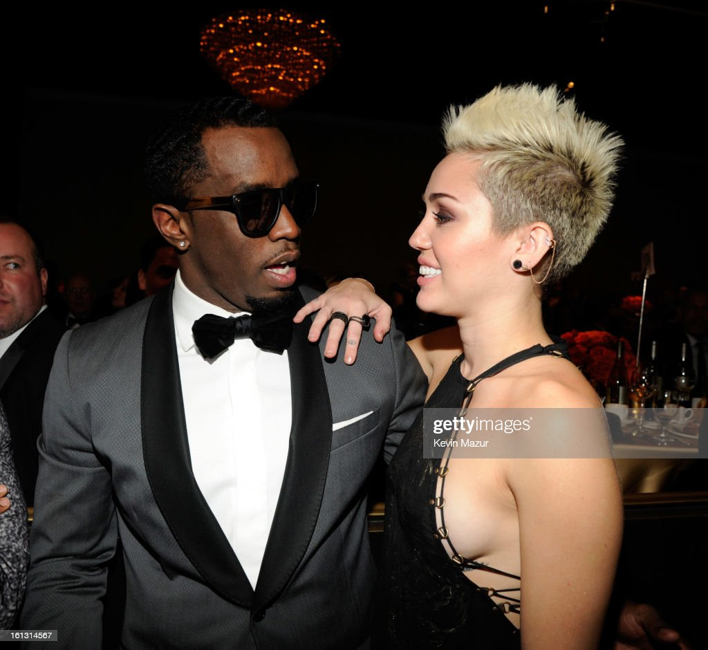 Sean 'Diddy' Combs and <a gi-track='captionPersonalityLinkClicked' href=/galleries/search?phrase=Miley+Cyrus&family=editorial&specificpeople=3973523 ng-click='$event.stopPropagation()'>Miley Cyrus</a> attend the 55th Annual GRAMMY Awards Pre-GRAMMY Gala and Salute to Industry Icons honoring L.A. Reid held at The Beverly Hilton on February 9, 2013 in Los Angeles, California.