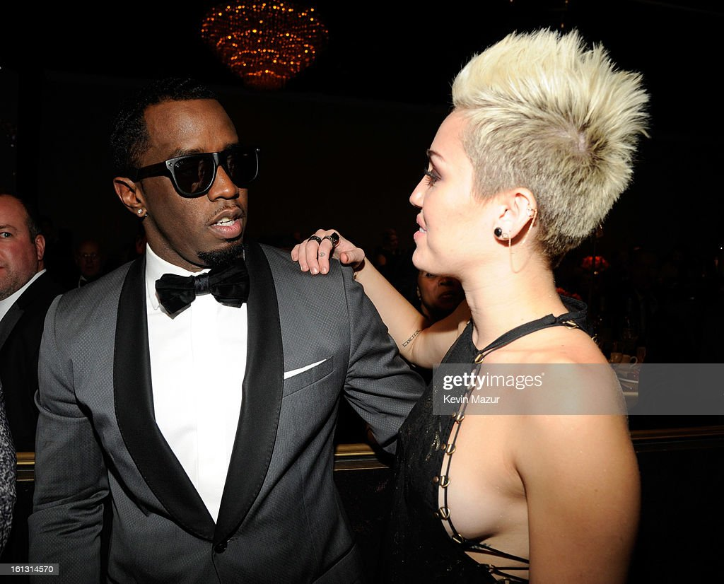 Sean 'Diddy' Combs and Miley Cyrus attend the 55th Annual GRAMMY Awards Pre-GRAMMY Gala and Salute to Industry Icons honoring L.A. Reid held at The Beverly Hilton on February 9, 2013 in Los Angeles, California.