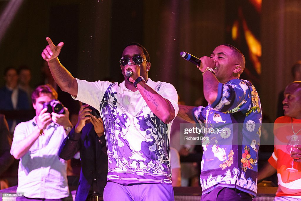 Sean 'Diddy' Combs and Nasir 'Nas' Jones perform onstage at Gotha Night Club during Cannes Lions International Festival of Creativity at Gotha Night Club on June 21, 2013 in Cannes, France.