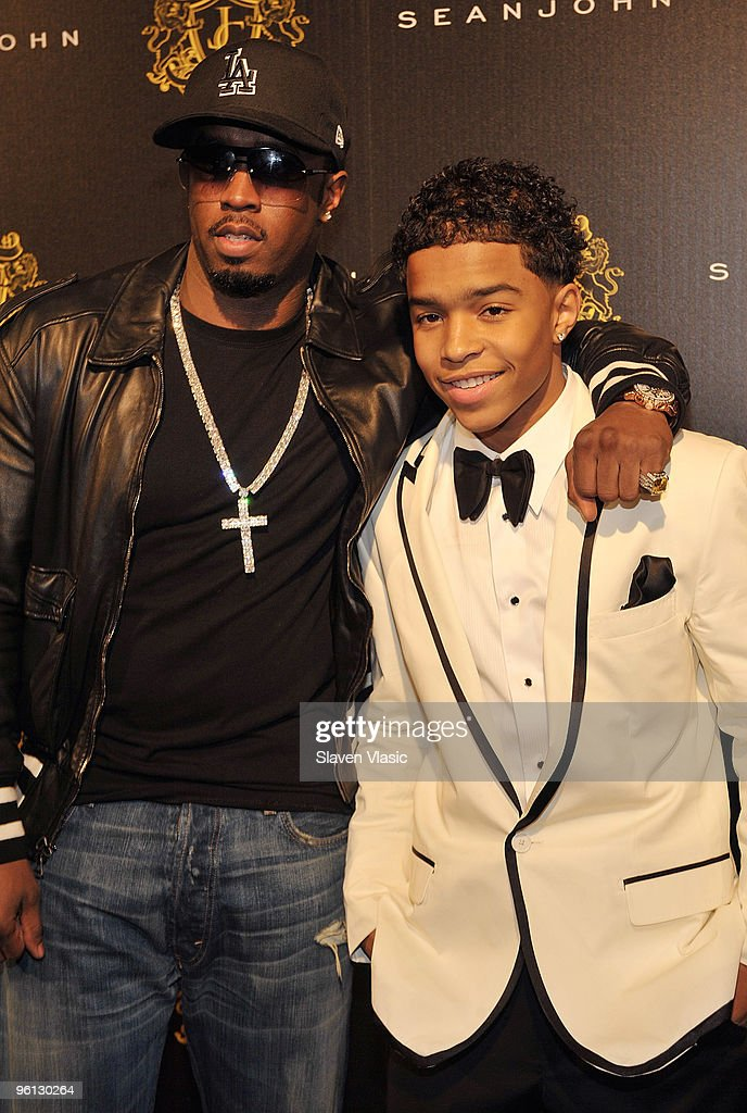 Sean 'Diddy' Combs and son Justin Dior Combs attend Justin Dior Combs' 16th birthday party at M2 Ultra Lounge on January 23 2010 in New York City
