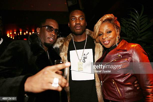 Sean 'Diddy' Combs Mary J Blige and Meek Mill attend the Time Warner Cable Studios After Party at No 8 on February 1 2014 in New York City
